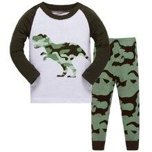 Купить с кэшбэком 3-8T 2019 New Arrival Pyjama Dinosaur Go Autumn Winter Children's Pajamas Christmas Costume Shirt Two Piece Suit