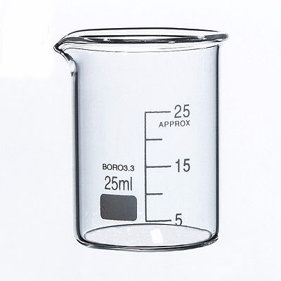 25ml Low Form Beaker Chemistry Laboratory Borosilicate Glass Transparent Beaker Thickened With Spout