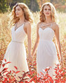 Alluring Chiffon V-neck A-Line Bridesmaid dresses Beading Crystals Sashes Spaghetti Straps Ruched Pleats Prom Dress Liyuke BM118