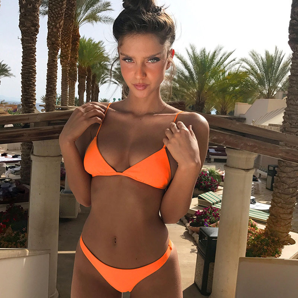 Almostlover1209 Orange Bikini 2017 Swimwear Women Top Bandage Swimsuit Solid Bathing Suit Sexy Beachwear Summer Hot Style Swim  цена и фото