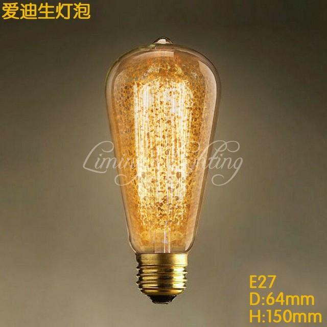 Vintage Edison Bulbs E27 Spraying Incandescent ST64 Filament Bulb Squirrel Cage  Carbon Bulb Retro Edison