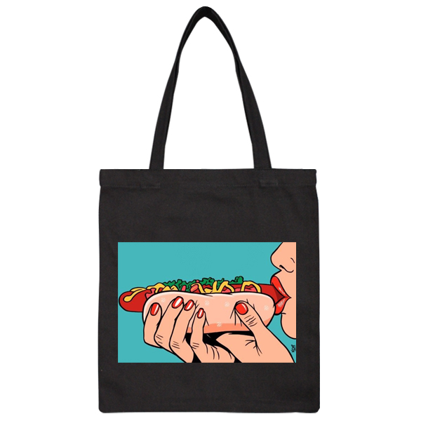 Black Hot dog Sausage Canvas Shoulder HandBag Tote Shopping Party Bag Crossbody Bag Day Bag Gifts