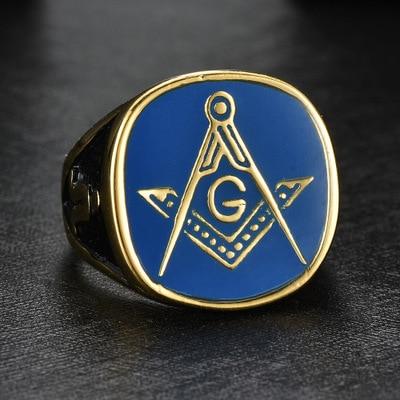 US $1 62 |2019 Punk Vintage R Gold Blue Color Black Side Masonic Ring for  Men Men's Jewelry Freemason Symbol G Templar Freemasonry Rings-in  Engagement