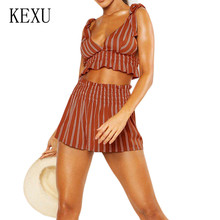 KEXU Orange Pleated Waist Striped Shorts Suits Sexy Backless Chest Vest Two Pieces Sets Jumpsuits Women Summer Rompers