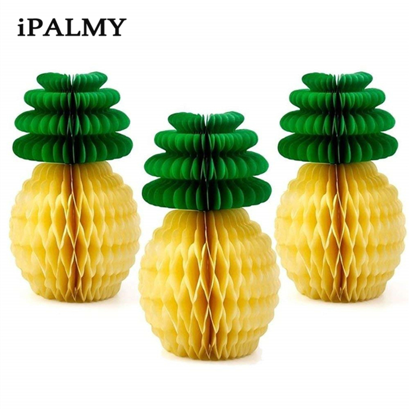 8inch 20cm Tissue Paper Pineapple Honeycomb Ball Decorations Baby Shower Favor Hawaiian Party Theme Decorations 50pcs