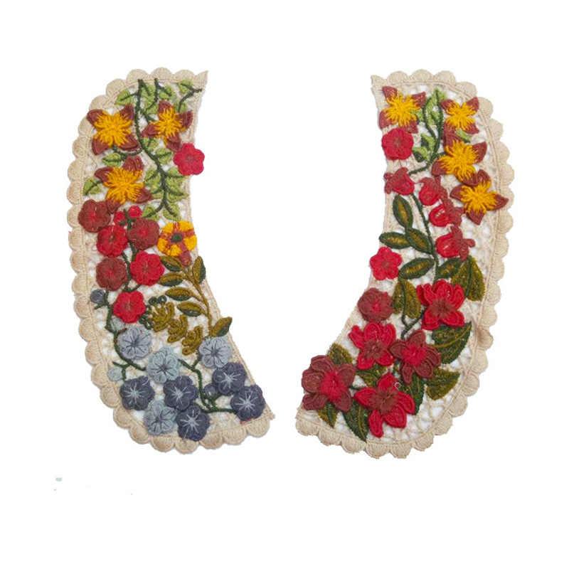 1 paar Frauen Stoff Blume Venise Spitze Applique Sewing Gefälschte Ausschnitt Kragen Falsche Bluse Kleidung Zubehör Scrapbooking