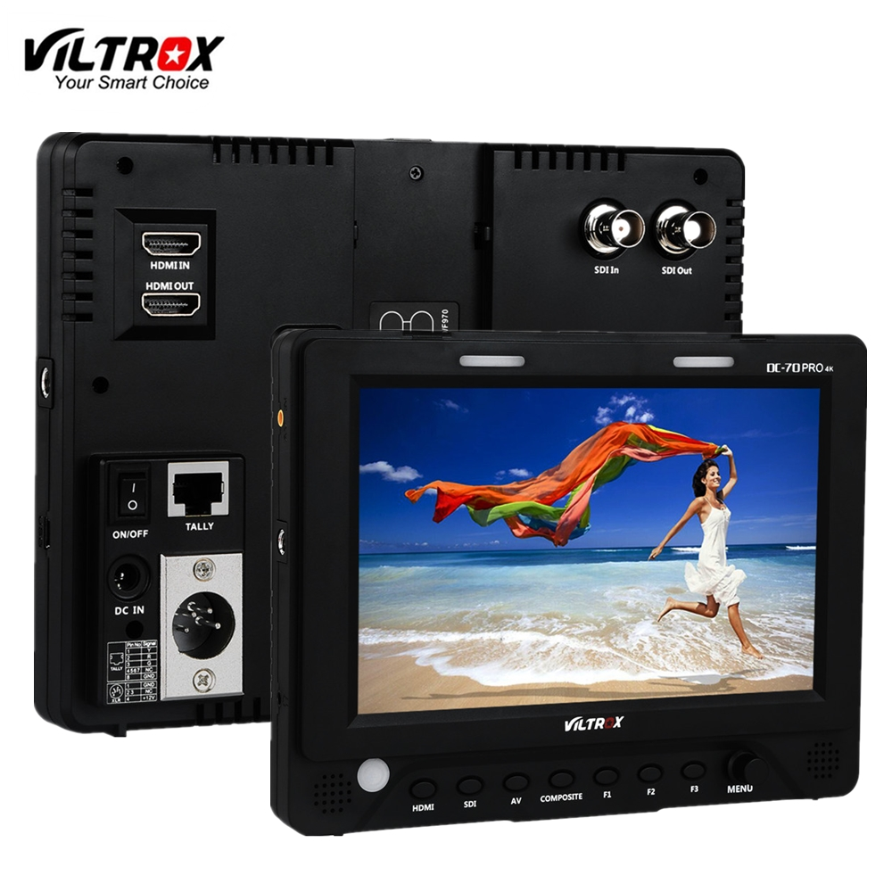 Viltrox DC-70PRO 4K 7'' Camera Video Monitor Display IPS HD SDI/HDMI/AV 1920x1200 Pixels for Canon Nikon Sony DSLR BMPCC aputure vs 5 7 inch sdi hdmi camera field monitor with rgb waveform vectorscope histogram zebra false color to better monitor