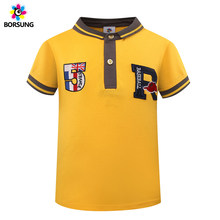 Fashion Letter Embroidery Kids Boys Polo Shirt 2018 Summer 100%Cotton Short Sleeve Yellow Children Polo For Kids Boys Tops 3-7Y(China)