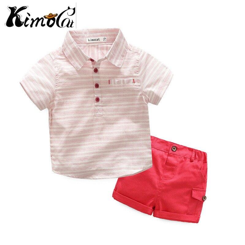 Kinmocat new Summer baby boy cotton striped lapel shirt suit 2pcs Shirt + shorts kids clothes