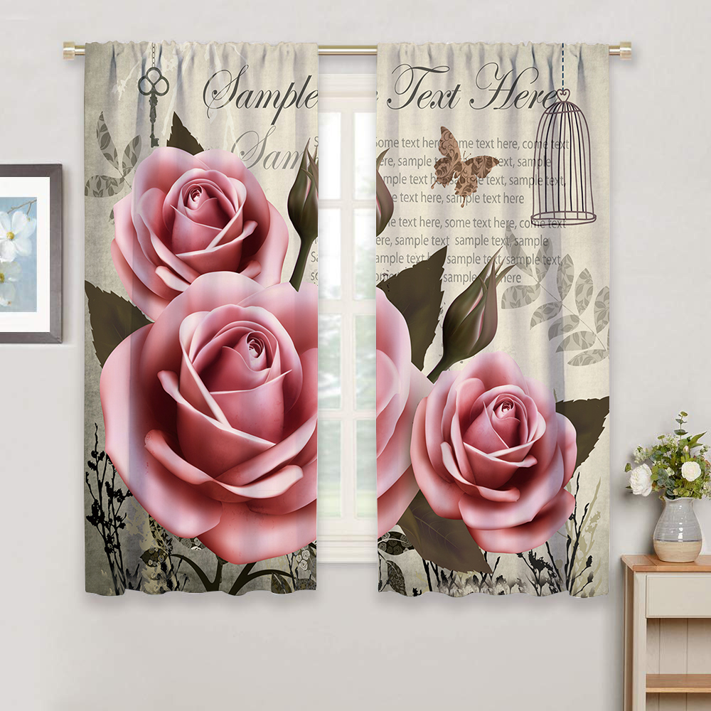 Miracille Pink Floral Curtains For Living Room Bedroom Window Drapes 1 2 Pieces Chic Flowers Roses Curtain For Girls Bedroom in Curtains from Home Garden