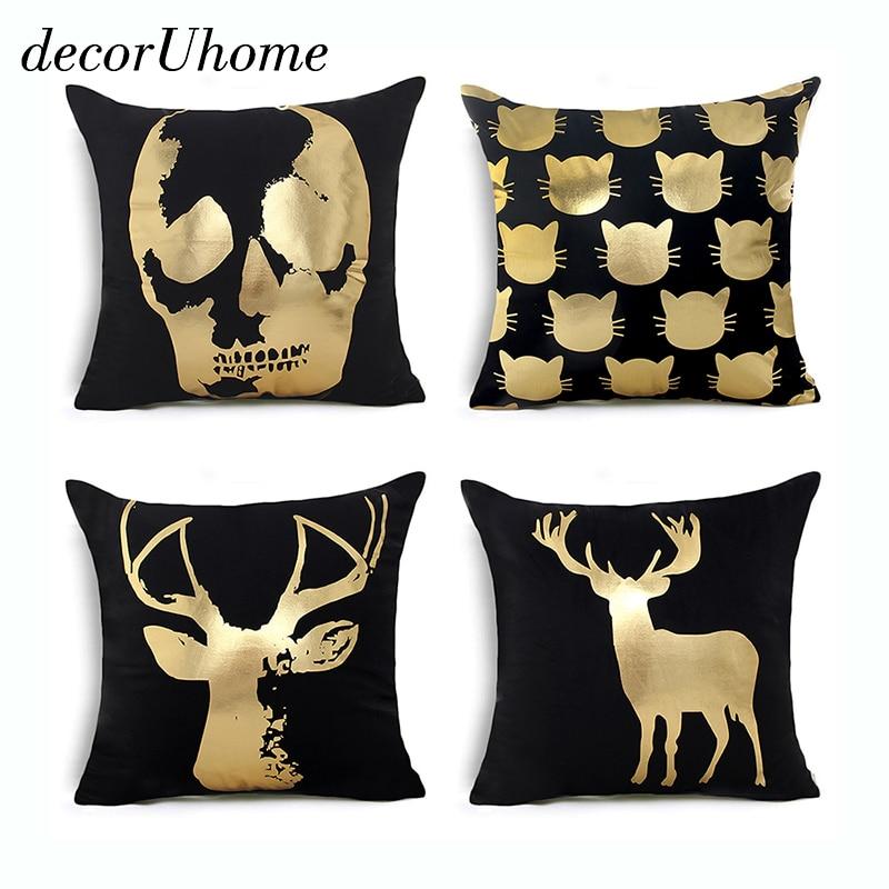 decorUhome Skull Bronzing Cushion Cover Lips Printed Pillow Case Kitten Home Decor Throw Pillow Cover Decorative Pillowcase Elk