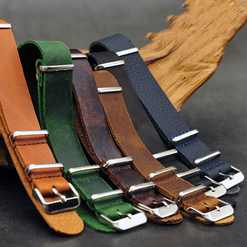 Onthelevel Nato Strap 20mm 22mm Gunuine Leather 18mm 24mm Watchband For Military Watch Strap With Three Buckle #E