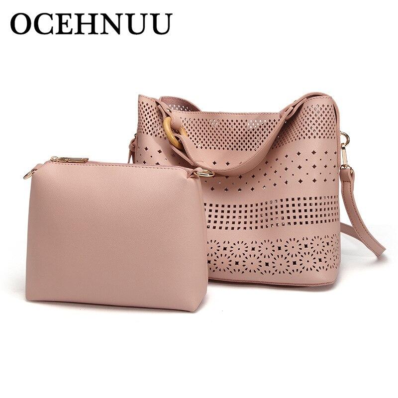 OCEHNUU Fashion Hollow Out PU Handbag Leather Ladies Shoulder Bag Sets Tassels 2018 Women Crossbody Bags Messenger Small Vintage