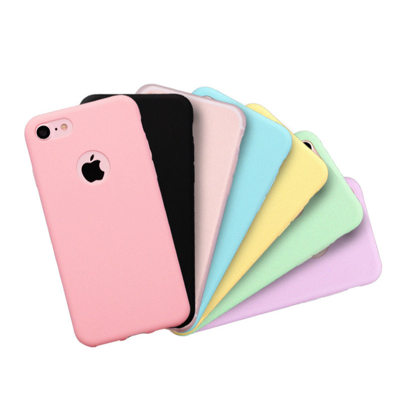 Original Soft Silicone Case for iPhone 6 S 6S 7 8 Plus 5 5S X 10 XR XS Max 6Plus 6SPlus 7Plus Case Candy Anti-knock rubber Cover