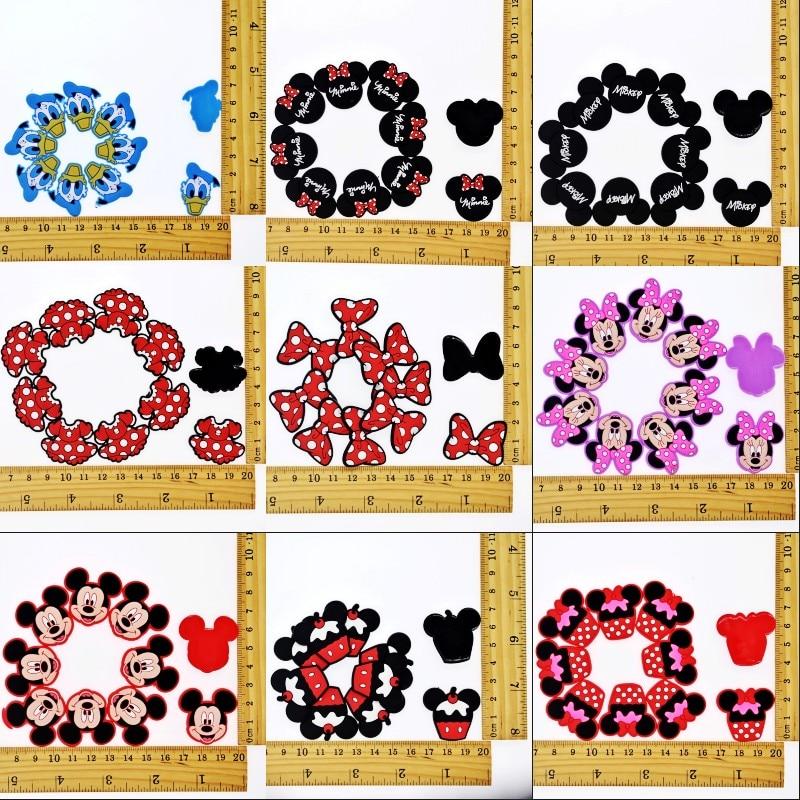 10PCS Cartoon Mickey/Minnie Flatback PVC DIY Decoration Fit Bracelets/Clog/Phone Case/Hair Accessory Charm Kids Girls Craft Gift