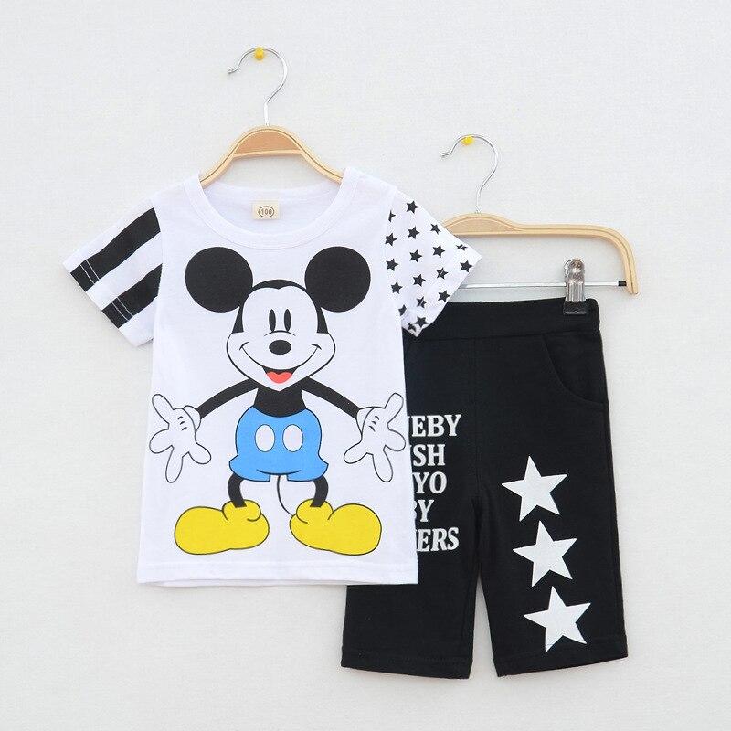 eab9e77d7 Children Clothing set 2017 New minnie Baby Girls Boys Clothes Sets 95%  Cotton cartoon Short Sleeve T-shirt+pant kids Sport Suits