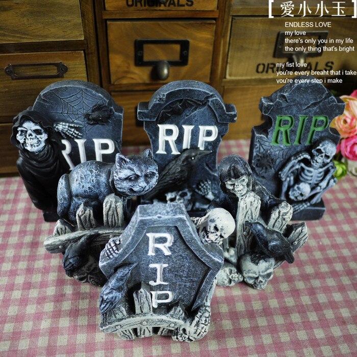 6pcsset ceramic handcrafts modern home furnishing living room halloween tombstone ornaments home decor 6 style in one set - Halloween Tombstone Decorations