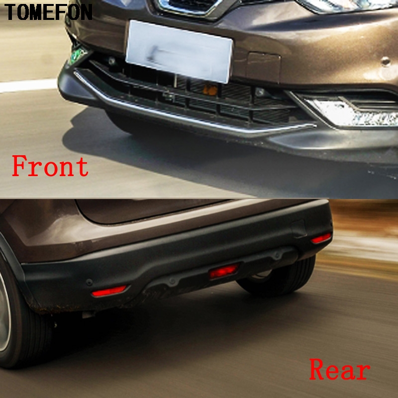 TOMEFON Free Shipping ABS Front & Rear Bumper Protector Skid Plate 2Pcs Trim For Nissan Qashqai Dualis J11 2014 2015 2016 2017 for nissan qashqai j11 2014 2015 2016 stainless steel rear outer inner bumper protector door sill plate molding garnish 2 pcs