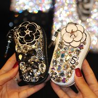 Camellia Diamond Cartoon Car Key Case Cute Crystal Auto Key Shell Holder Cover Gifts For Women Girls For Toyota Audi Volkswagen