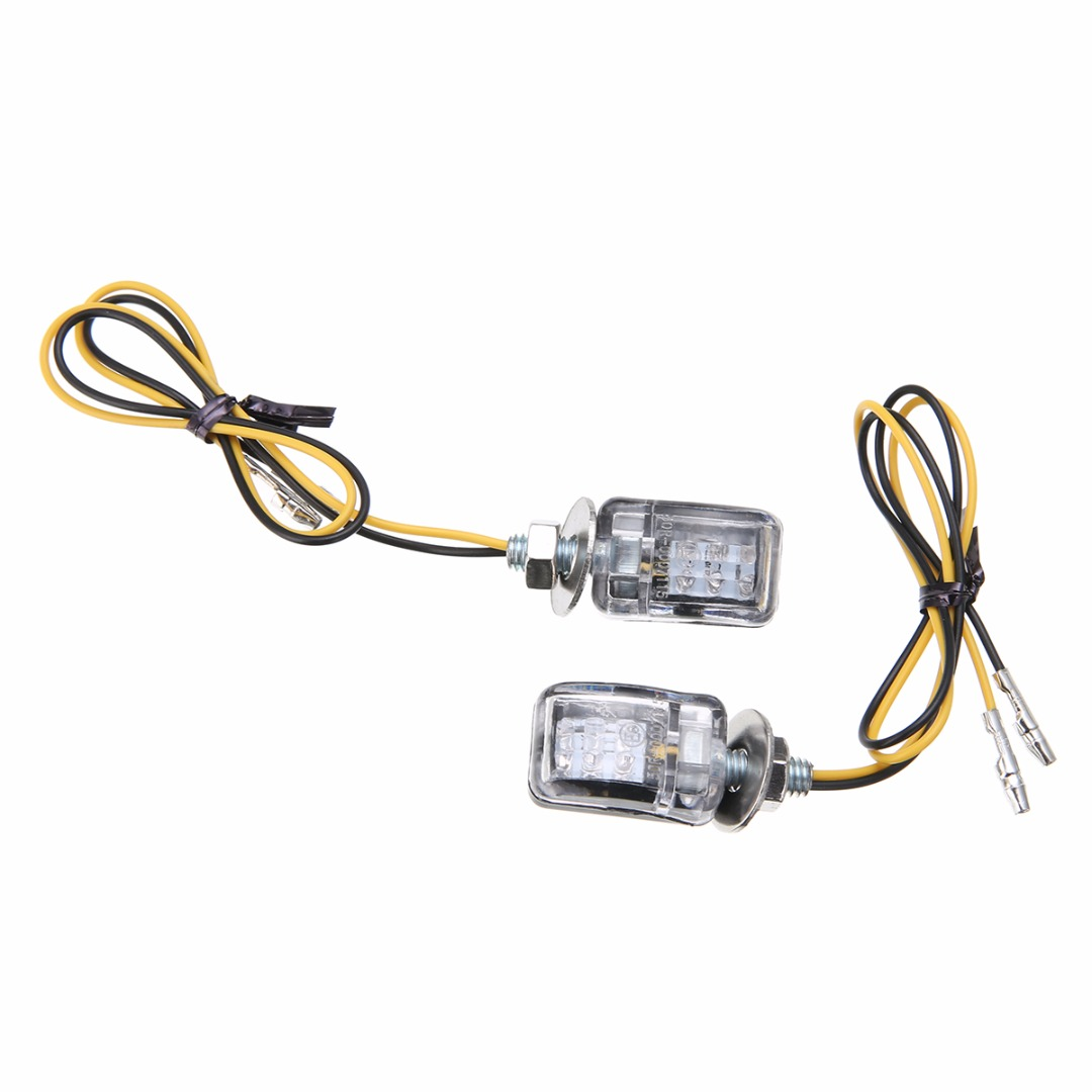 Mayitr 2pcs 6LED Motorcycle Mini Turn Signal Light Blinker Indicator Lamp Amber 2 Wire Black Shell Integrated Clear Lens