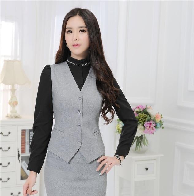 Plus Size 4XL Formal Uniforme Estilo Business Professional Women Casaco  Colete Feminino de Forma Magro Desgaste 262b760b3c083