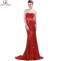 Bridesmaid Dress Mermaid Long 2016 Grace Karin Red Black Silver Blue Luxury Shiny Gold Sequin Bridesmaid