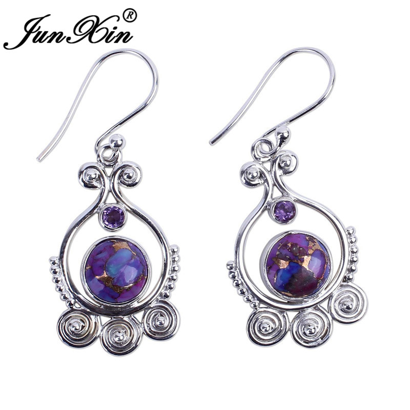 HTB13egdX5rxK1RkHFCcq6AQCVXaX - JUNXIN Antique Silver Geometry Moonstone Drop Earrings For Women Boho Round Red Blue Opal Earrings Female Zircon Wedding Jewelry