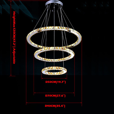 K9 Crystal  Luxury LED  90w Amber Crystal Pendant Lights Fixtures with 3 Rings size:90+90+4cm