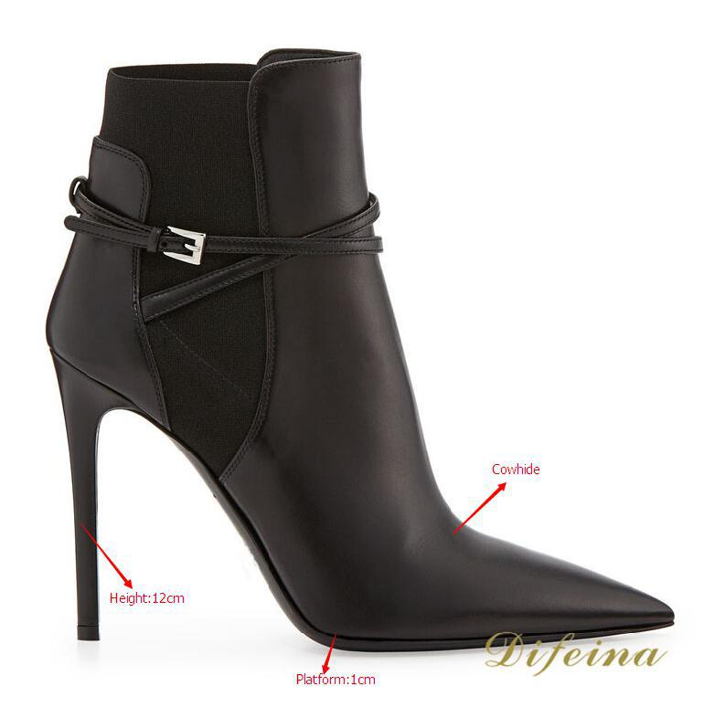 Solid Women Fashion Boots Thin High Heels Slip-On  Buckle Pointed Toe Leather Boots Autumn Shoes Woman Genuine Leather