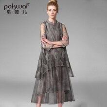 Pokwai элегантные длинные старинные вышивки лето silk dress женщины моды 2017 новых прибытия высокого качества стенд воротник платья a-line