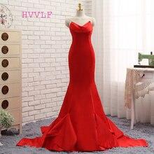 HVVLF 2018 Formal Celebrity Dresses Mermaid V-neck Sweep Train Satin Red Backless Evening Dresses Famous Red Carpet Dresses