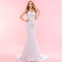RSW1324 Real Pictures Yiaibridal Mermaid Crystal Bead Lace Chiffon Wedding Dress