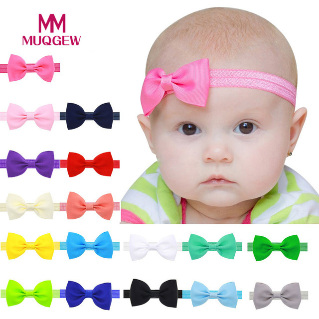 17 Colors Headband Solid Candy Color Baby Kids Girls Mini Bowknot Hairband Elastic Headband Hair Accessories Wholesale 10