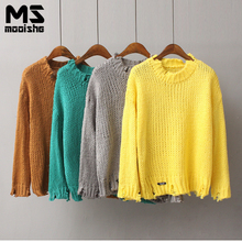 Mooishe Autumn Vintage Women Sweater Long Sleeve Hole Loose Solid Women Knitted Pullovers For Winter