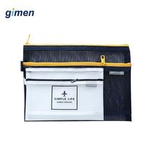 Simple Double Zipper Book Pencil Pen Case Transparent File Bag Document Paper Folder School Office Supplies GC05-A410