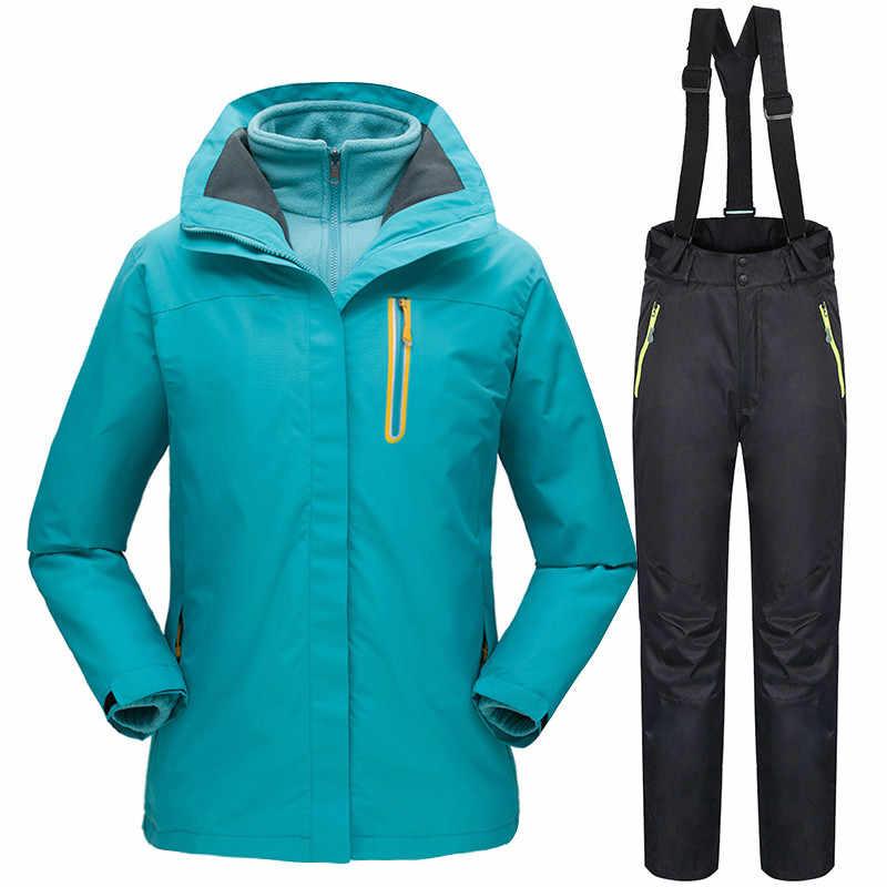 -30 Derajat Musim Dingin Ski Cocok untuk Wanita Tahan Air Windproof Snowboard Jaket + Celana Perempuan Luar Ruangan Hangat Pakaian Set