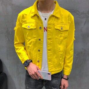Image 4 - Jaqueta em denim masculina, jaqueta curta estilo coreano para homens, estilo hip hop