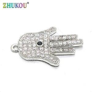 Image 4 - 12*26 мм Высококачественный латунный кубический цирконий Lucky Hamsa ручная работа DIY ювелирные изделия браслет ожерелье, Модель: VD61