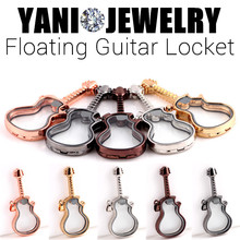Shuyani 10pcs/lot Alloy Floating Guitar Locket Glass Memory Living Floating Locket without chains Pendant