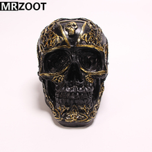 MRZOOT Resin Crafts Punk Gothic Home Decoration or Halloween Personalized Black Carving Skull Sculpture.