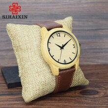 Watches Men Wooden Unique Vogue Mens Quartz Wristwatch Top Brand Luxury Watch Clock Male With Leather Strap Clock Relojes Hombre