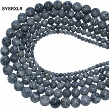 Natural Stone Beads Figure Round Map Gray For Jewelry Making Yourself Bracelet Material 4 / 6 8 10 12 MM 16 strand