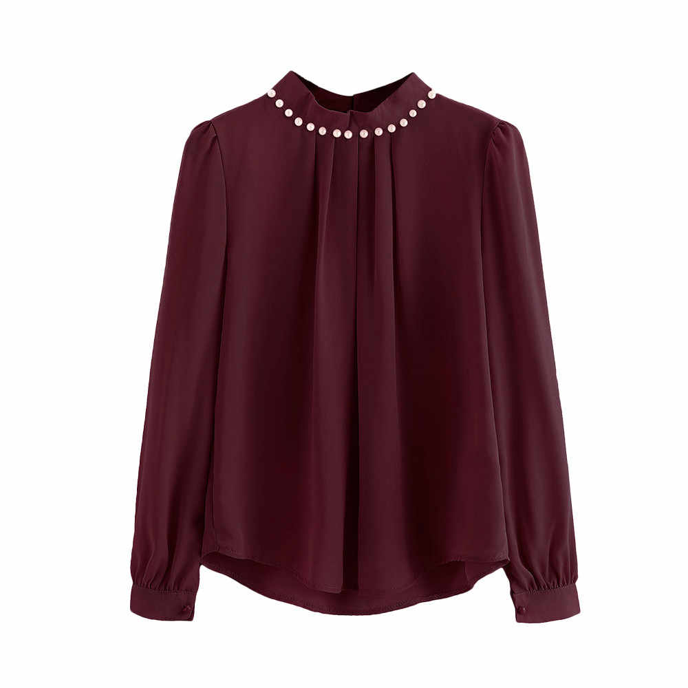 JAYCOSIN Fashion Blouse Women Candy colors Chiffon Long Flare Sleeve High Neck Tops Solid Lady Full Shirt 0311