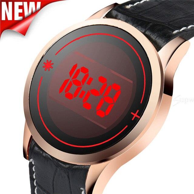 84d8c4b374f Relógio de Forma dos homens LED Digital Data Dia Silicone Relógio de Pulso  da Tela de