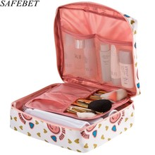 SAFEBET Brand Women Cosmetic Bag Multifunction Organizer Waterproof Portable Makeup Bag Travel Necessity Beauty Case Wash Pouch cheap Cosmetic Cases 0 11kg Zipper 22cm Fashion Floral Polyester 17cm Blue