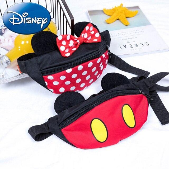 Disney New Kids Shoulder Crossbody Girls Mickey Minnie Lovely Bow Messenger Children Small Waist Bag Cartoon Versatile Gift