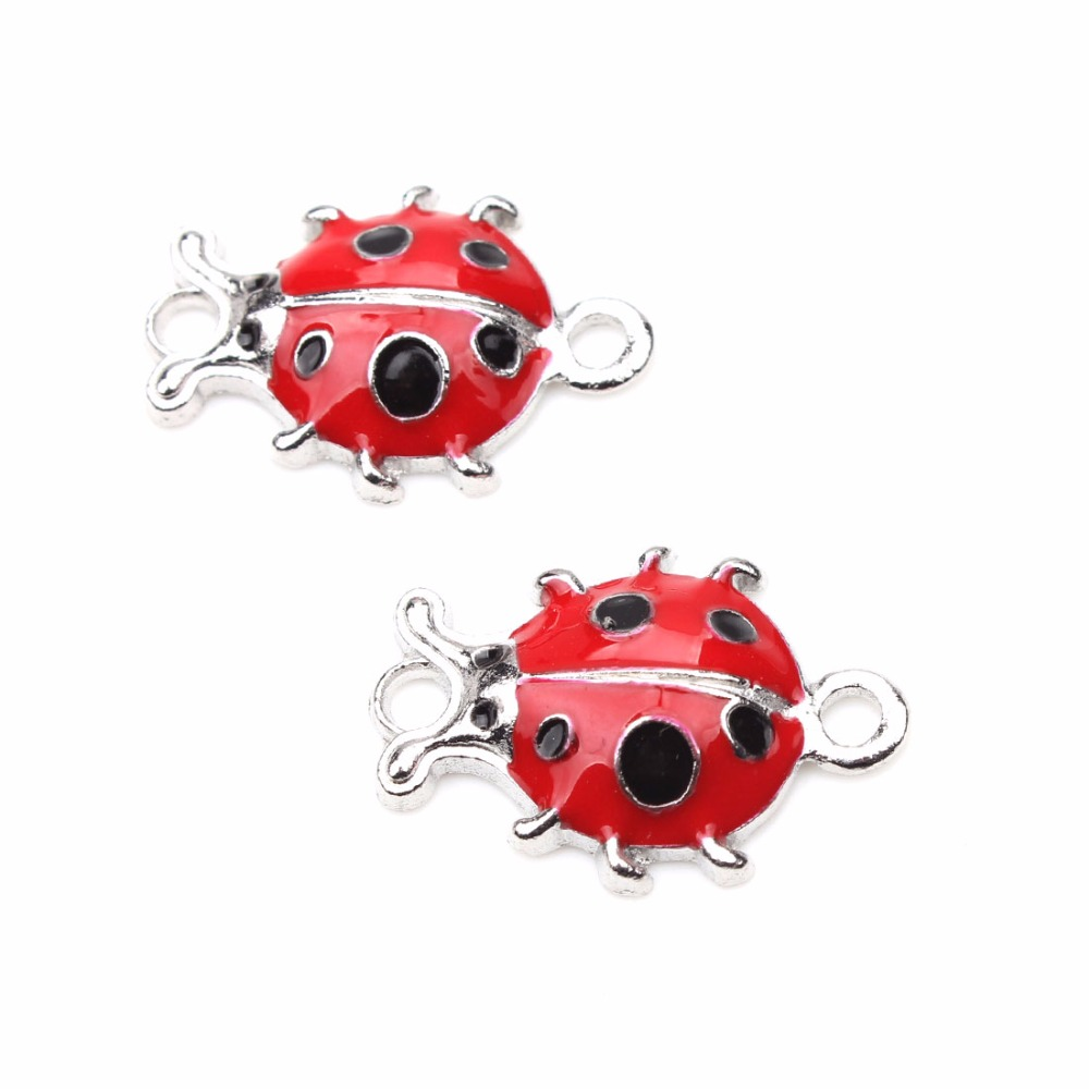 6pcs/lot Fancy Ladybug Charms Pendants Alloy Pendant Fit for Women Bracelet & Necklace jewelry accessories Making exaggerated vintage style golden spiral pendants alloy necklace for women