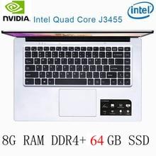 P2-33 8G RAM 64G SSD Intel Celeron J3455 NvIDIA GeForce 940M Gaming laptop keyboard and OS language available for choose