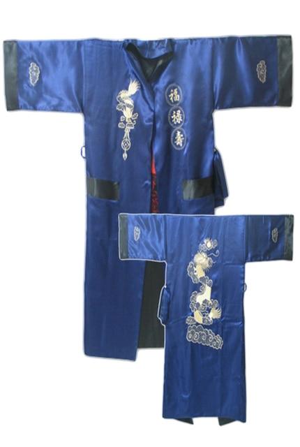 Navy Blue Black Reversible Chinese Men's Satin Silk Two-face Robe Embroidery Kimono Bath Gown Dragon One Size S3006