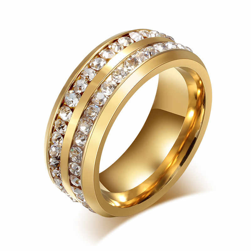 LETAPI 2019 New Gold สีสแตนเลส Rhinestone 2 แถวสีขาว Cz หมั้นแหวน